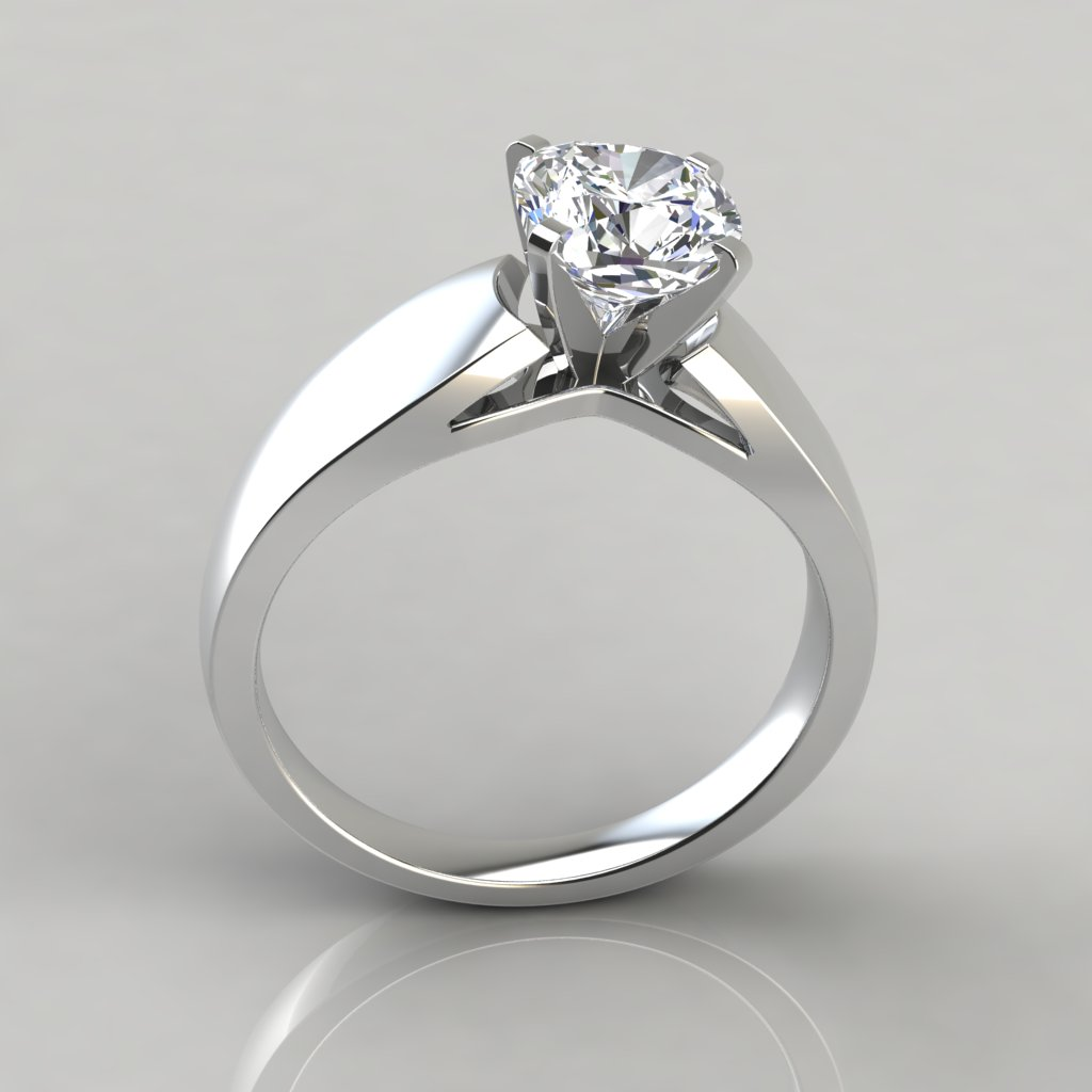 Wide band cushion cut solitaire engagement ring for Cushion cut engagement rings with wedding band