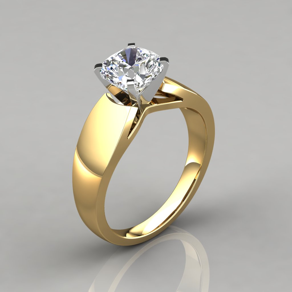Wide Band Cushion Cut Solitaire Engagement Ring