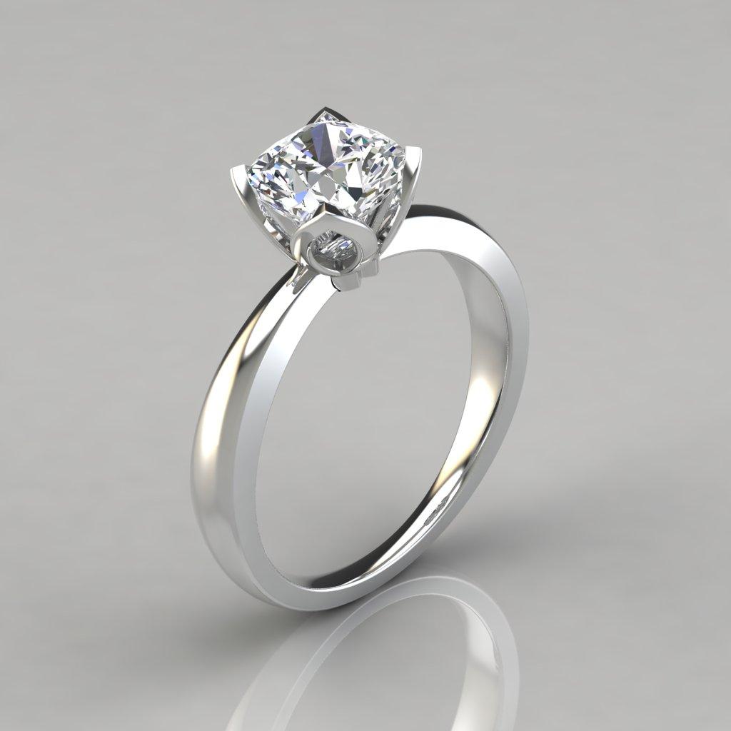 Petal Design Cushion Cut Solitaire Engagement Ring Puregemsjewels