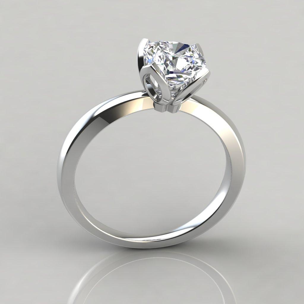 Petal Design Cushion Cut Solitaire Engagement Ring ...