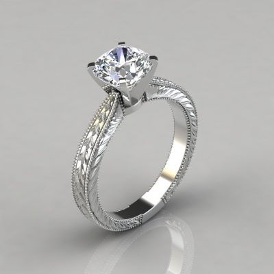 229w1-hand-engraved-cushion-cut-solitaire-engagement-ring-pure-gems-jewels-white-gold