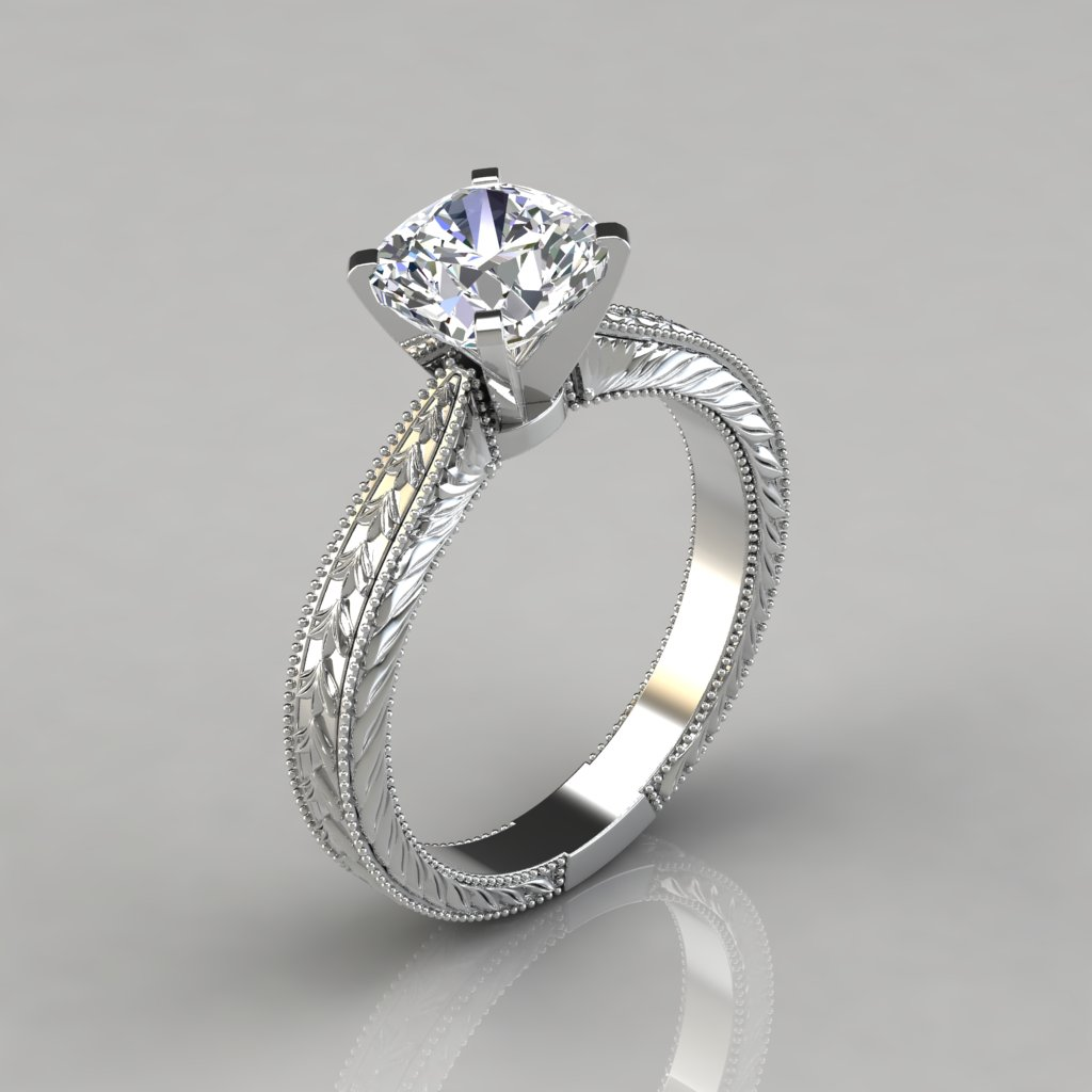 Hand Engraved Cushion Cut Solitaire Engagement Ring