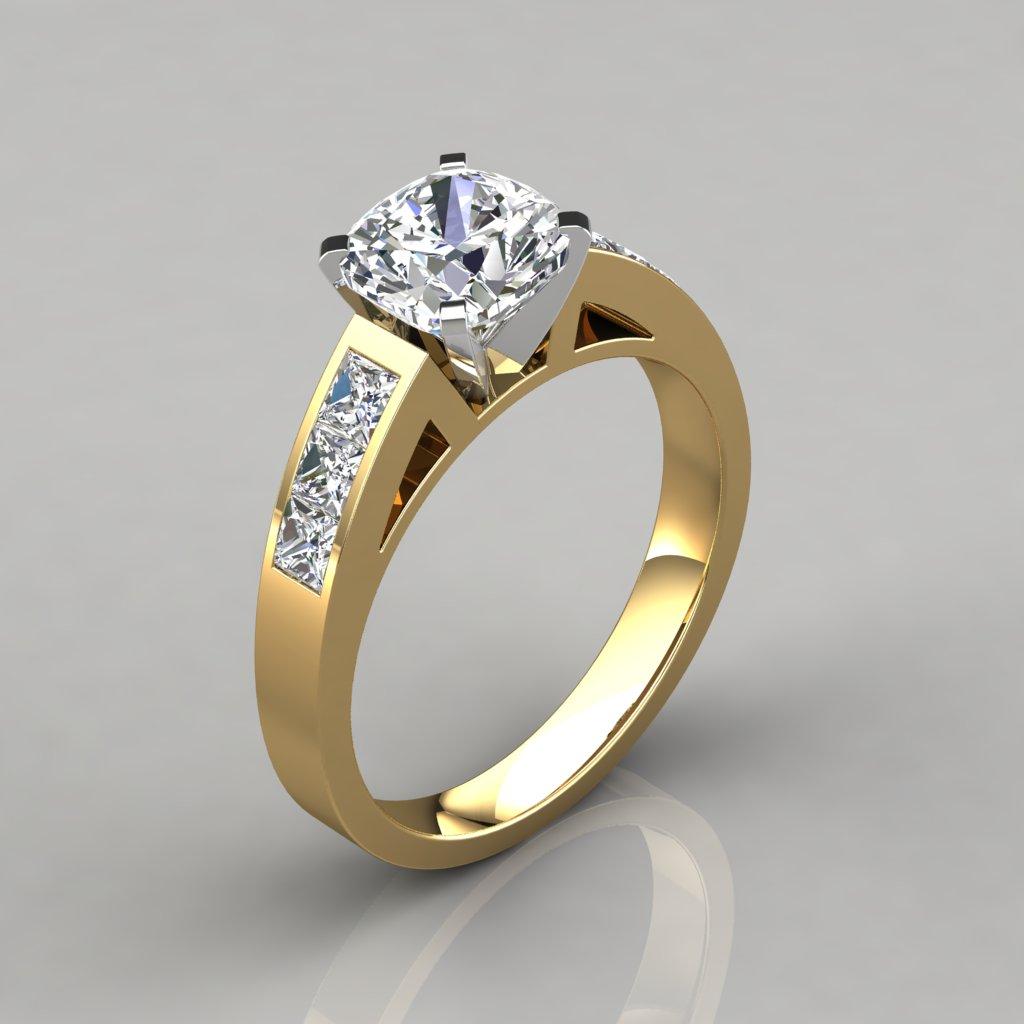 Channel Set Cushion Cut Engagement Ring - PureGemsJewels