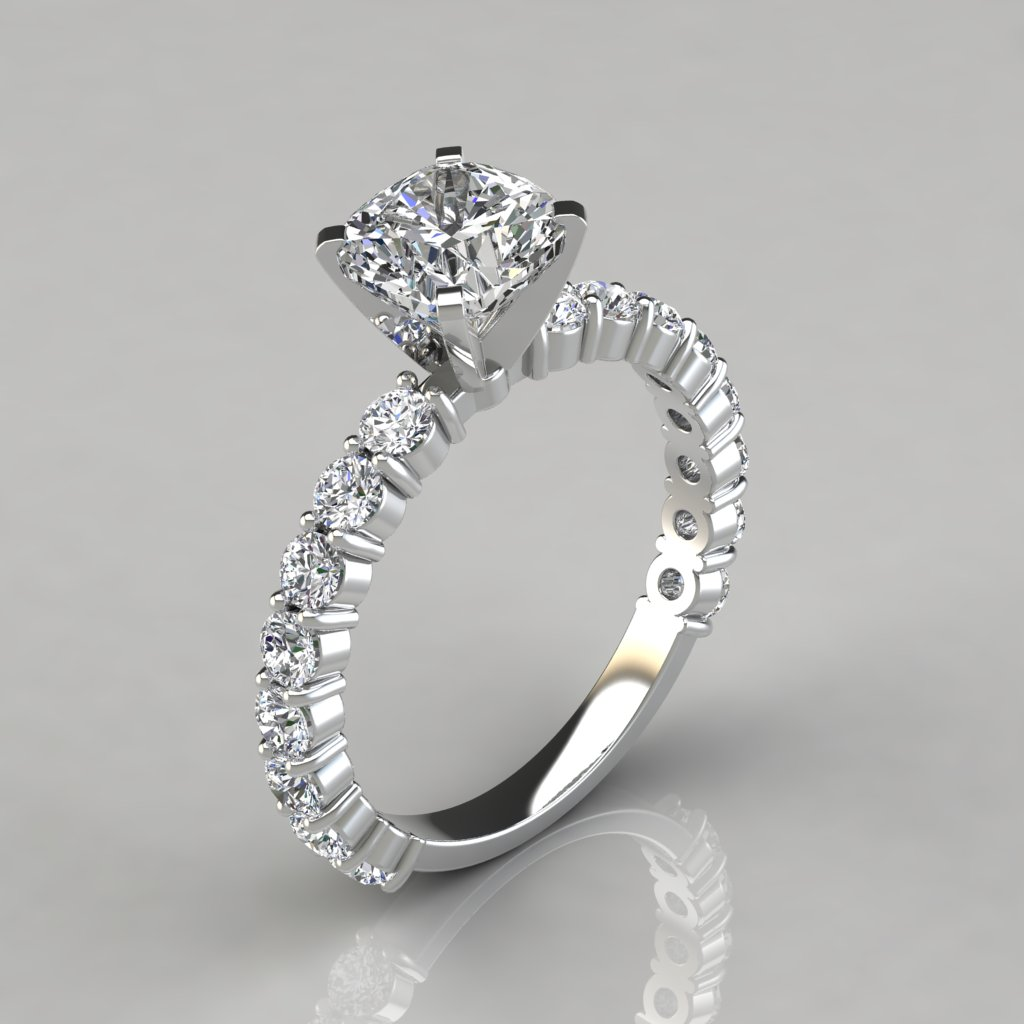 rings gold shared white band ring products classic diamond prong engagement