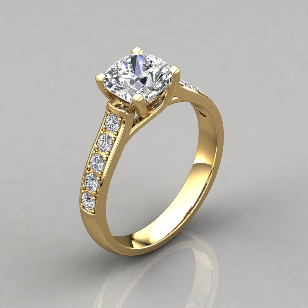 Cushion Cut Cross Prong Engagement Ring - Pure Gems Jewels