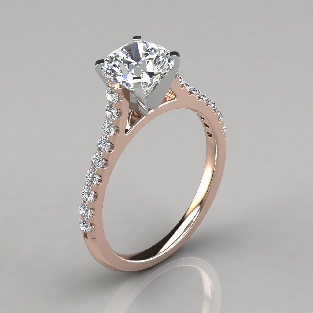 product engagement rings tapered cut princess ring diamond cathedral solitaire