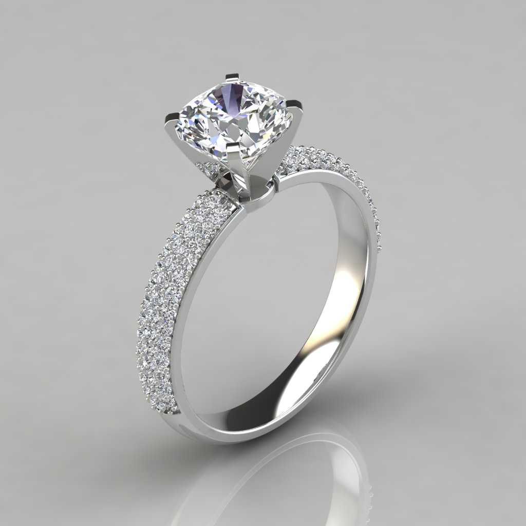 Micro Pavé Cushion Cut Engagement Ring - PureGemsJewels