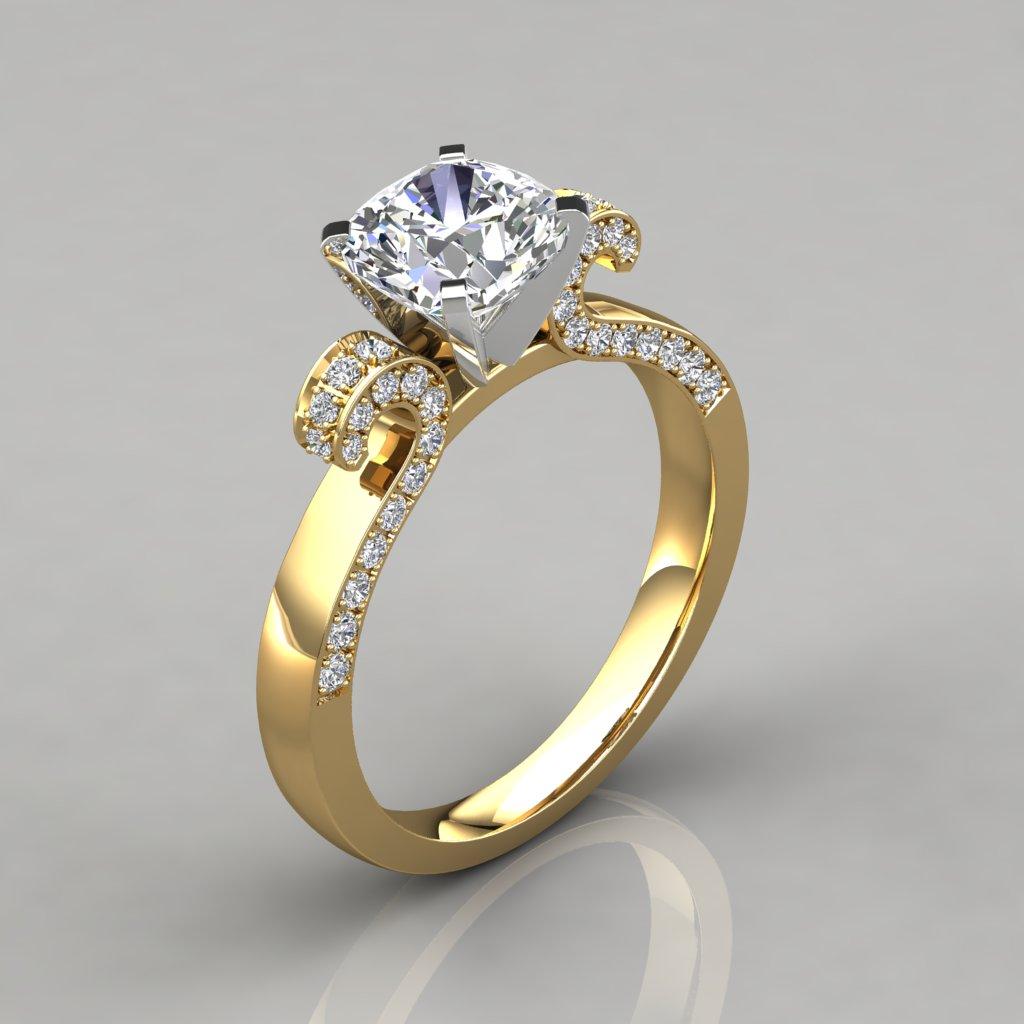 Vintage Floral Design Cushion Cut Engagement Ring PureGemsJewels