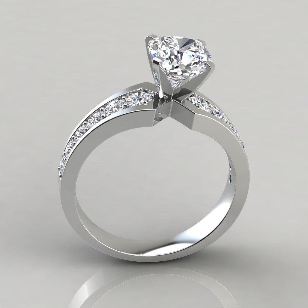 Graduated Pavé Cushion Cut Engagement Ring 239w2graduatedpavécushioncut Engagementringpure