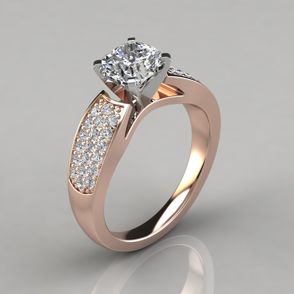 243r1 Wide Band Cushion Cut Lab Diamond Engagement