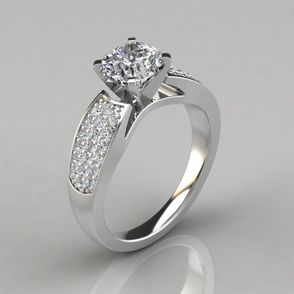 wide band cushion cut engagement ring puregemsjewels. Black Bedroom Furniture Sets. Home Design Ideas