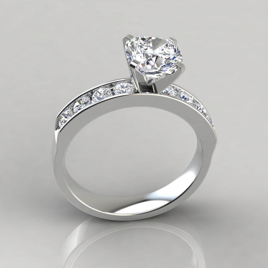 Cushion Cut Channel Set Engagement Ring 245w2channelsetcushioncutlab Createddiamond