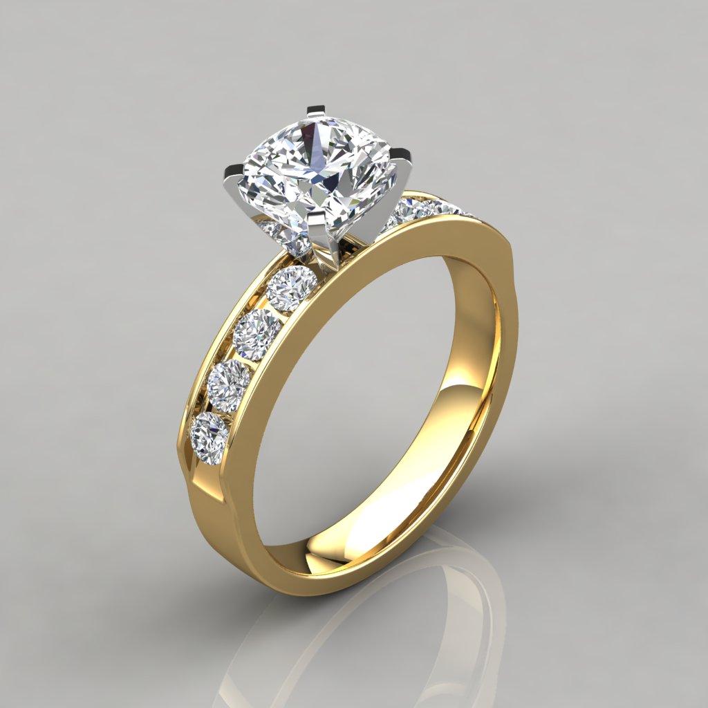 Cushion Cut Channel Set Engagement Ring PureGemsJewels
