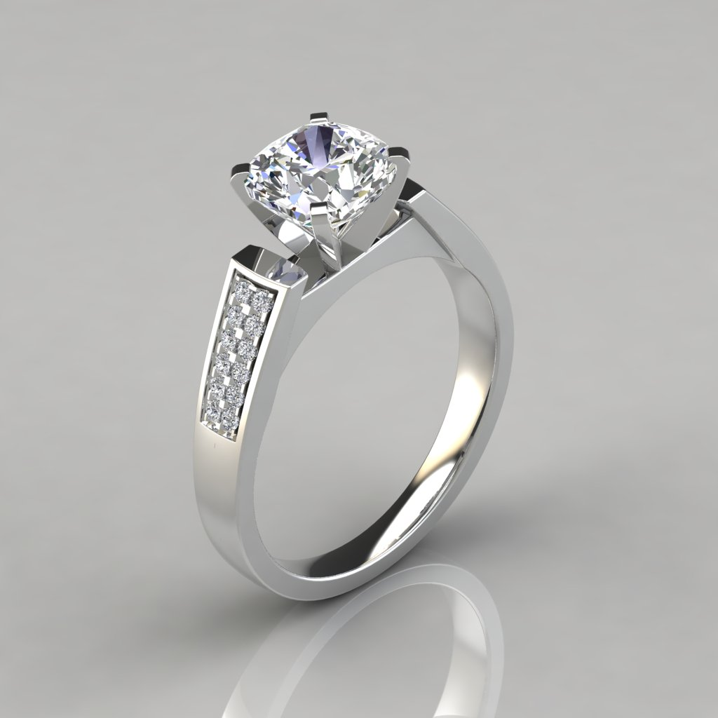 flat wedding rings flat edged cathedral cushion cut engagement ring 4097