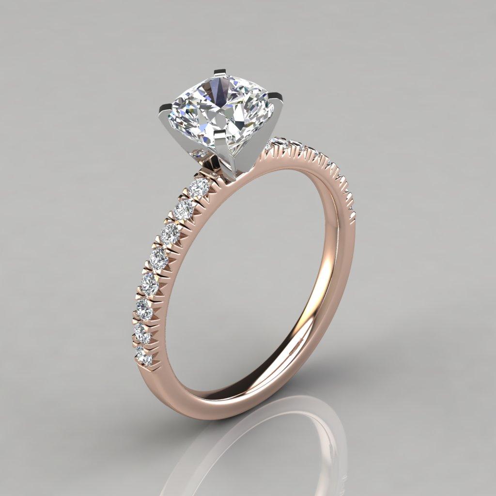 French Cut Cushion Cut Engagement Ring - PureGemsJewels