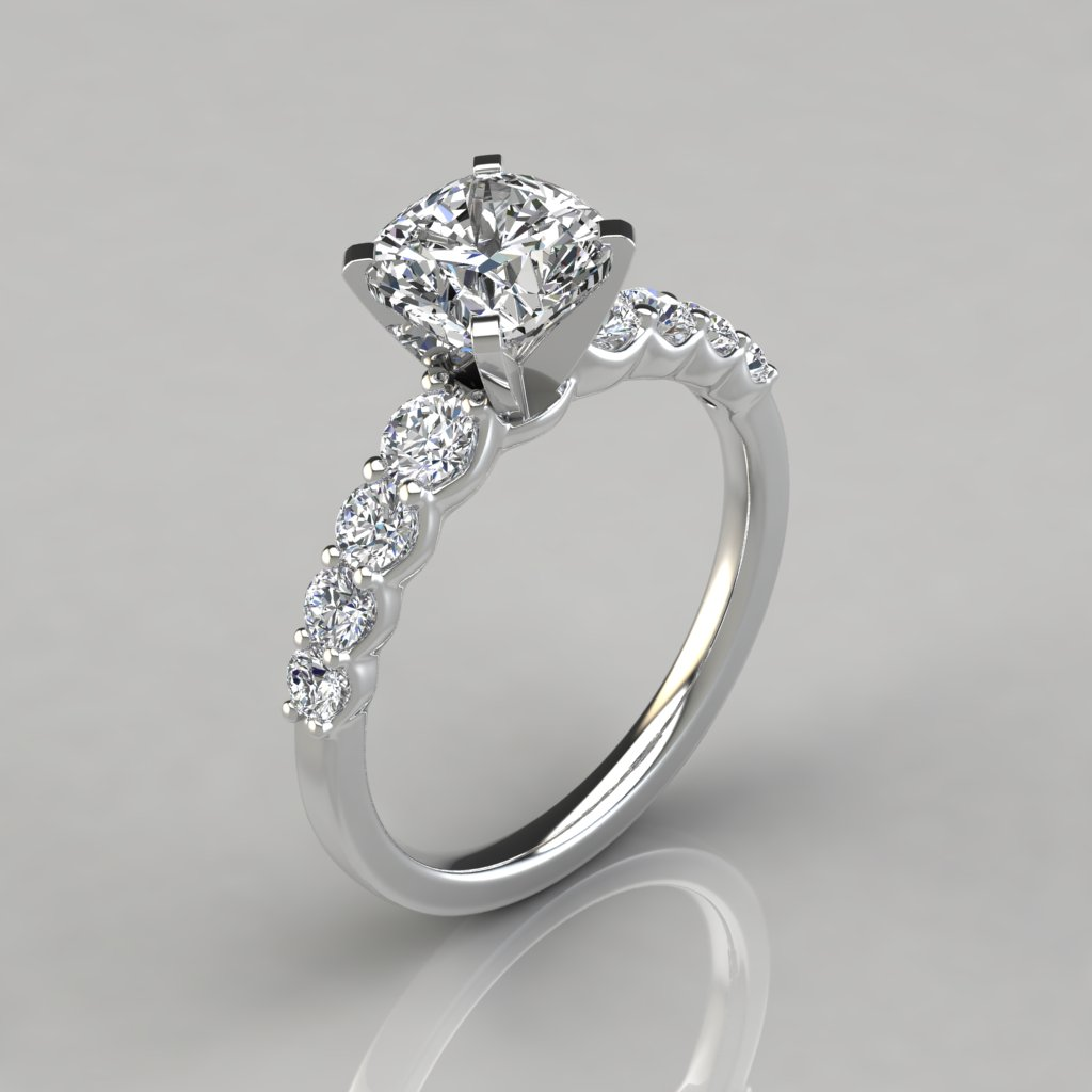Graduated Side Stone Cushion Cut Engagement Ring ...