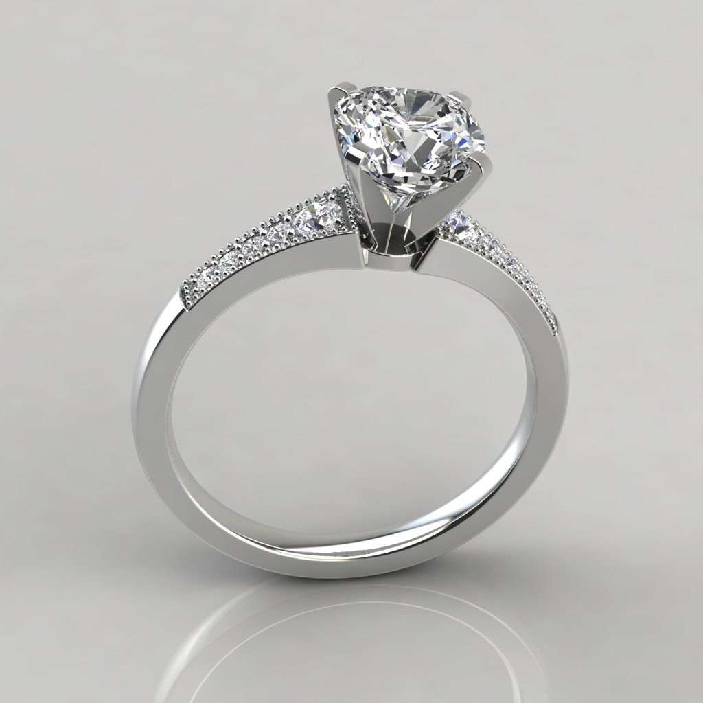 graduated milgrain cushion cut engagement ring. Black Bedroom Furniture Sets. Home Design Ideas