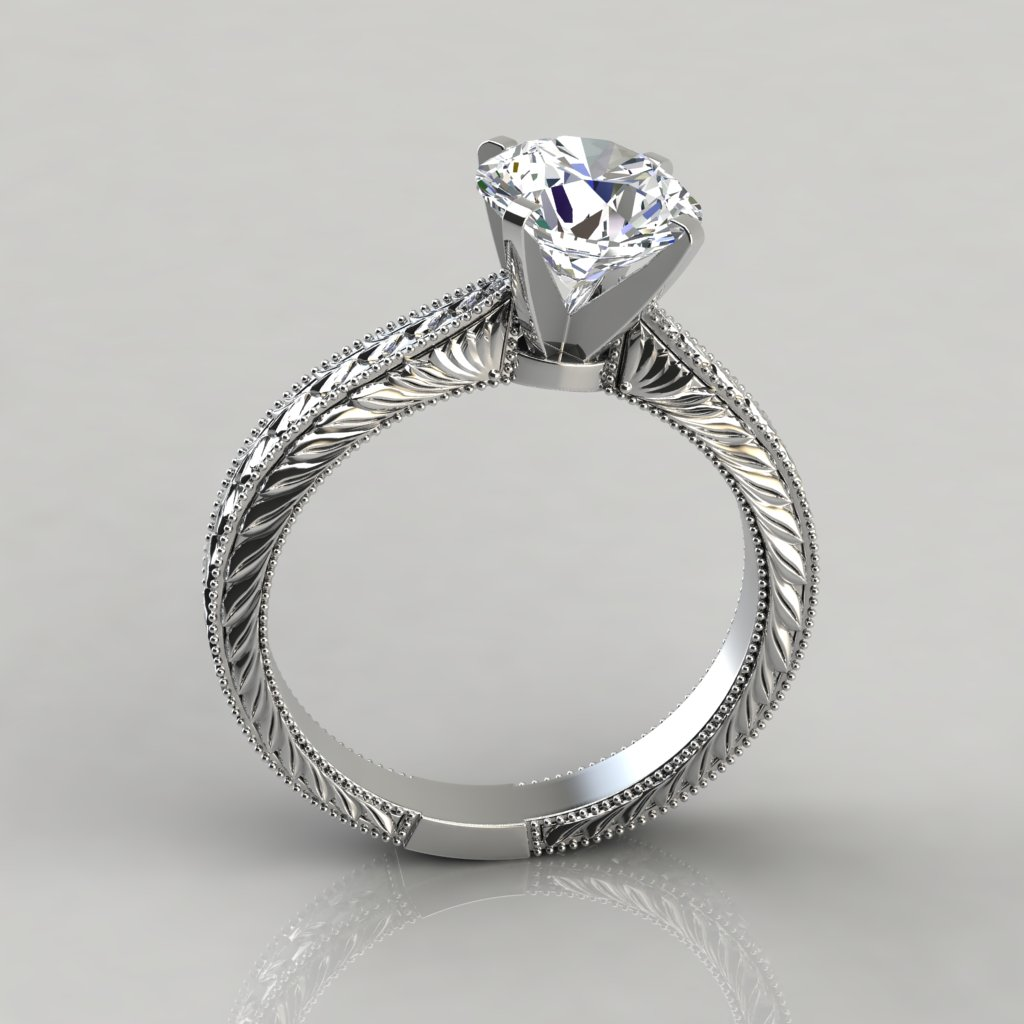 hand engraved solitaire engagement ring puregemsjewels