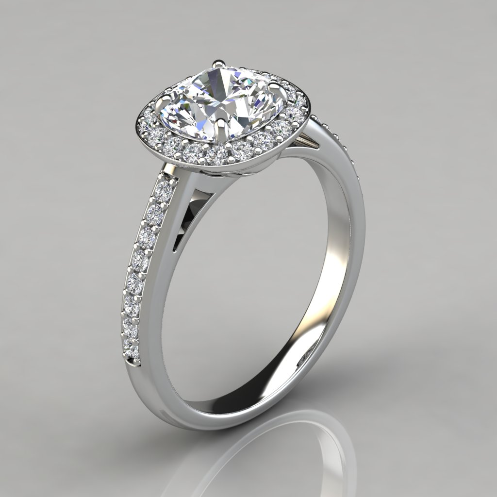 cushion cut halo engagement ring puregemsjewels
