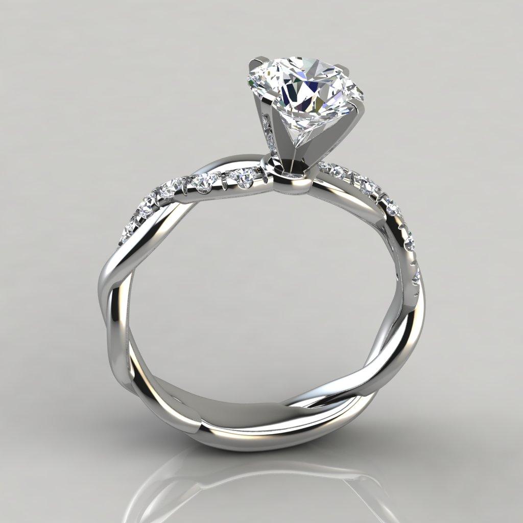 Twist Round Cut Engagement Ring