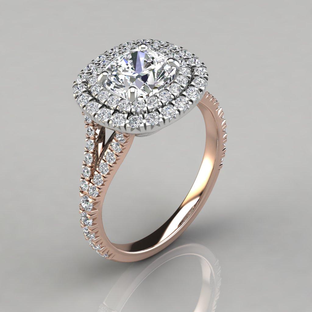Cushion Cut Halo Engagement Rings