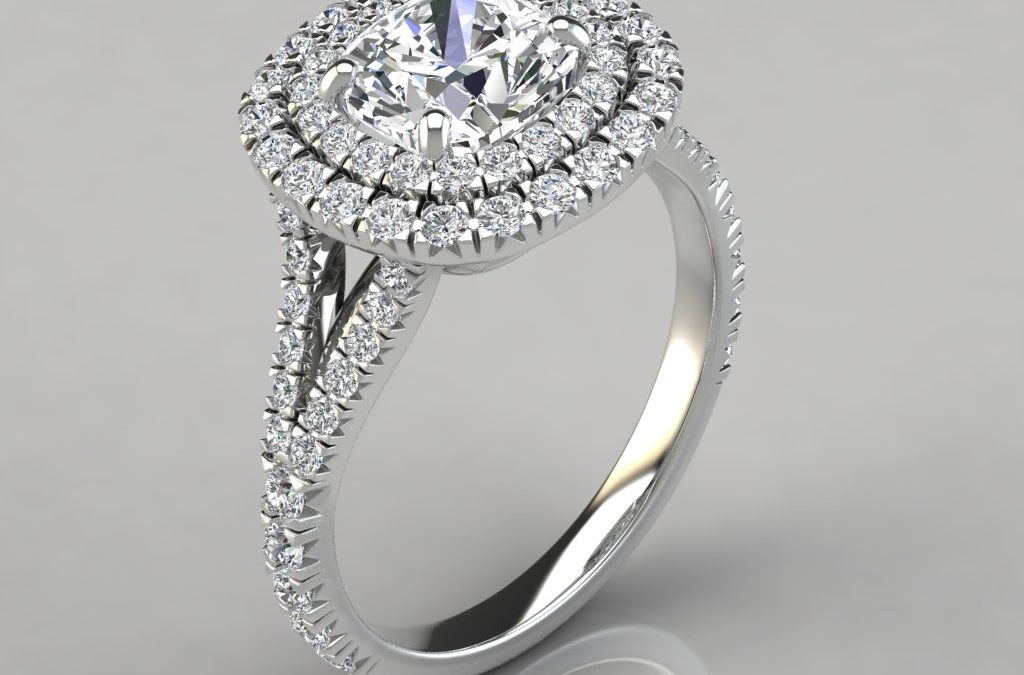 Double Halo Cushion Cut Engagement Ring