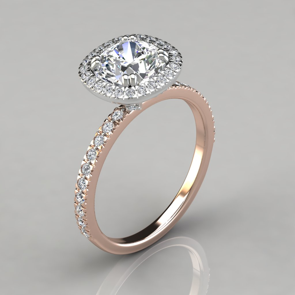 peach diamond ring home rings rose in cusion product with cushion gold cut morganite engagement halo
