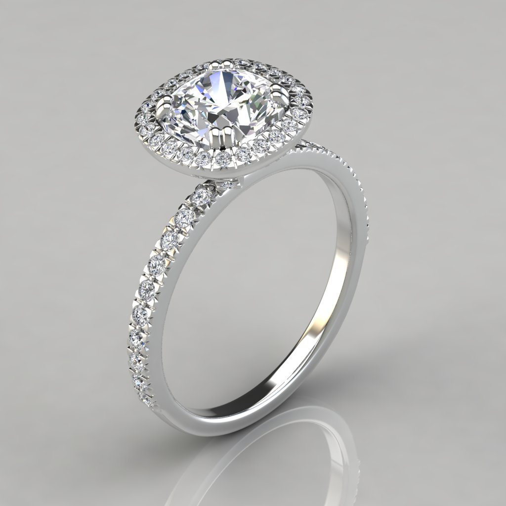 French Cut Pave Cushion Cut Halo Engagement Ring Puregemsjewels