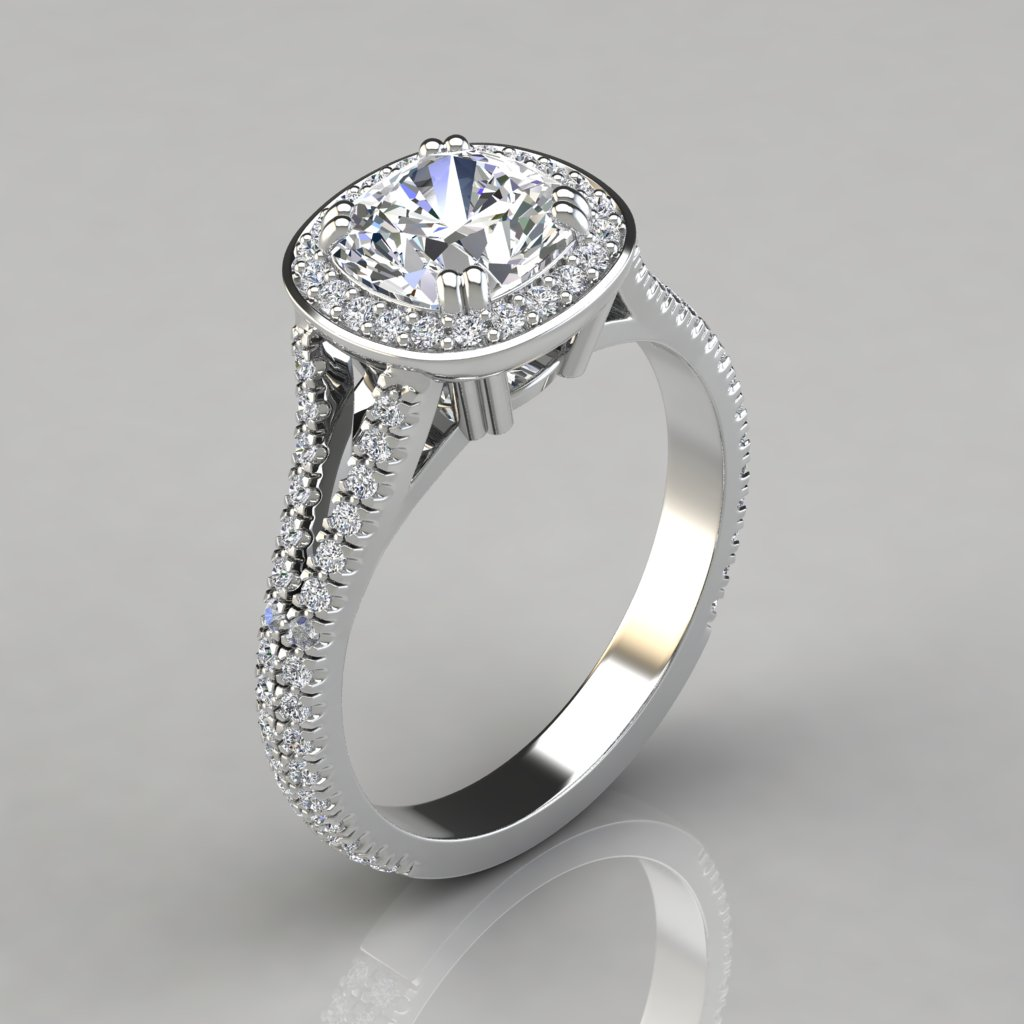 split shank cushion cut halo engagement ring puregemsjewels