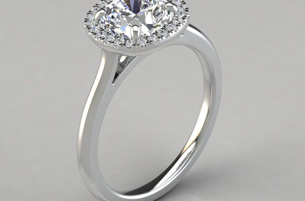Plain Shank Halo Cushion Cut Engagement Ring