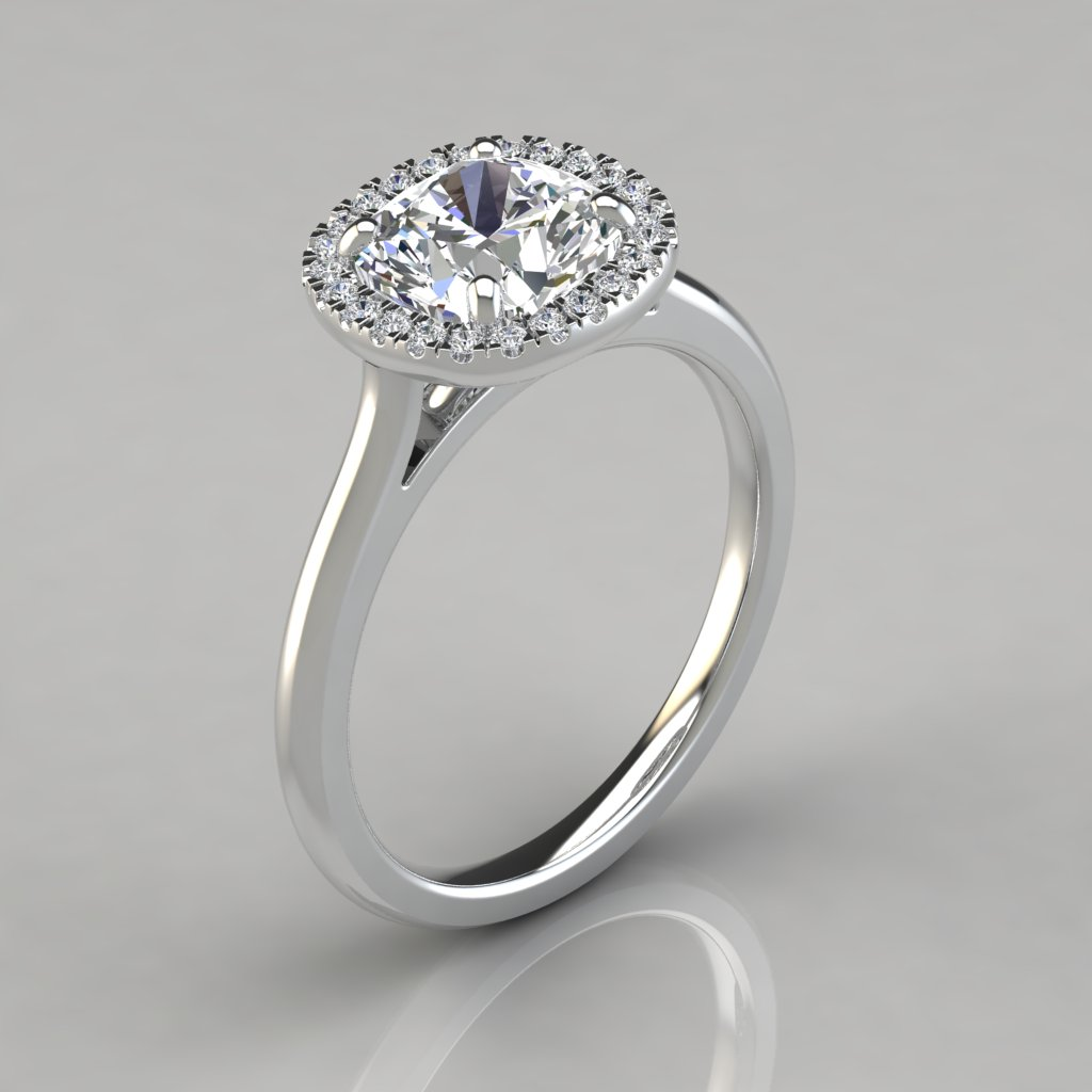 plain shank halo cushion cut engagement ring puregemsjewels