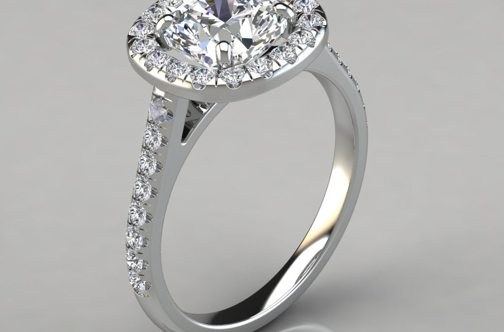 Floating Halo Cushion Cut Gold Engagement Ring