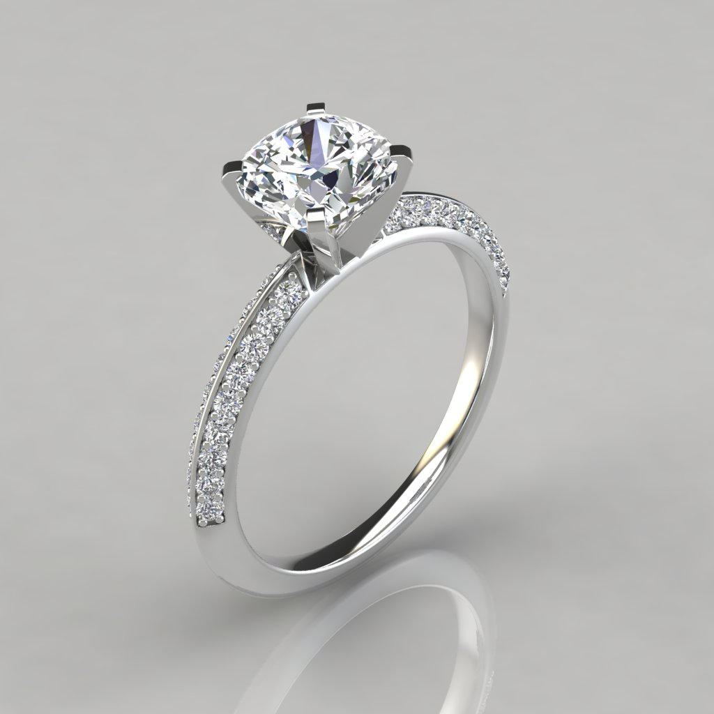 rockher jewellery in crossover with rose rings ring shank gold cushion cut diamond pave engagement