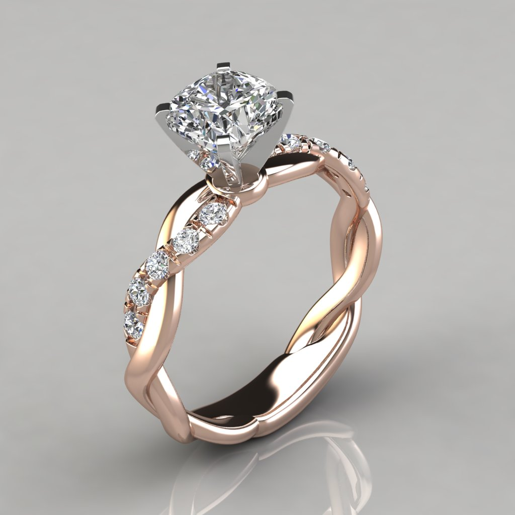 cushion knife gold with rings side white cut edge in stones products engagement ring