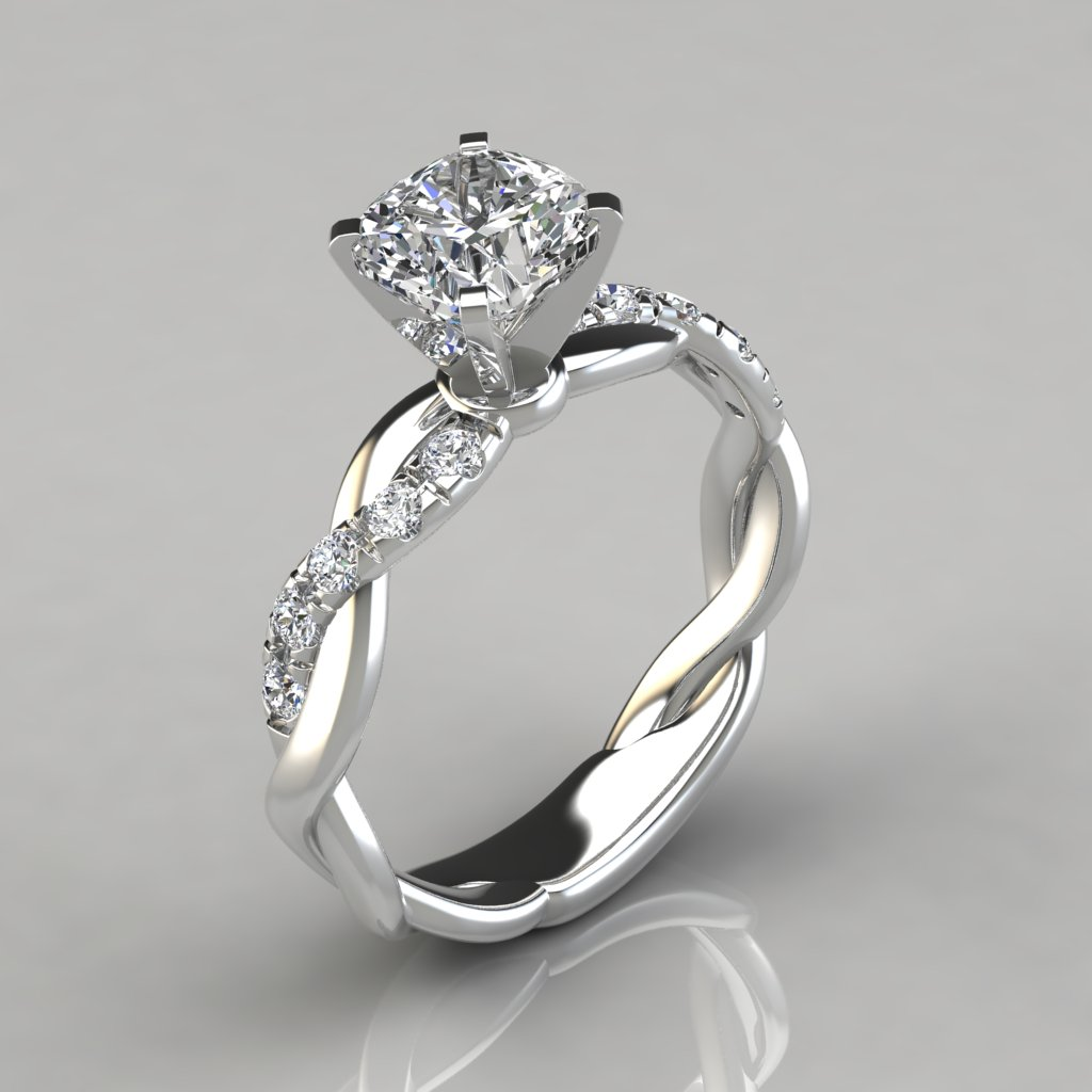 6ffeccf203190 Twist Cushion Cut Engagement Ring - PureGemsJewels