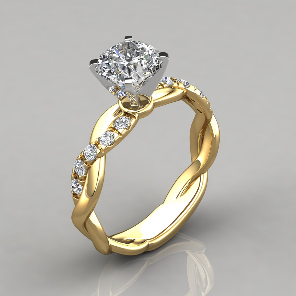 yellow gold wedding rings twist cushion cut engagement ring puregemsjewels 1518