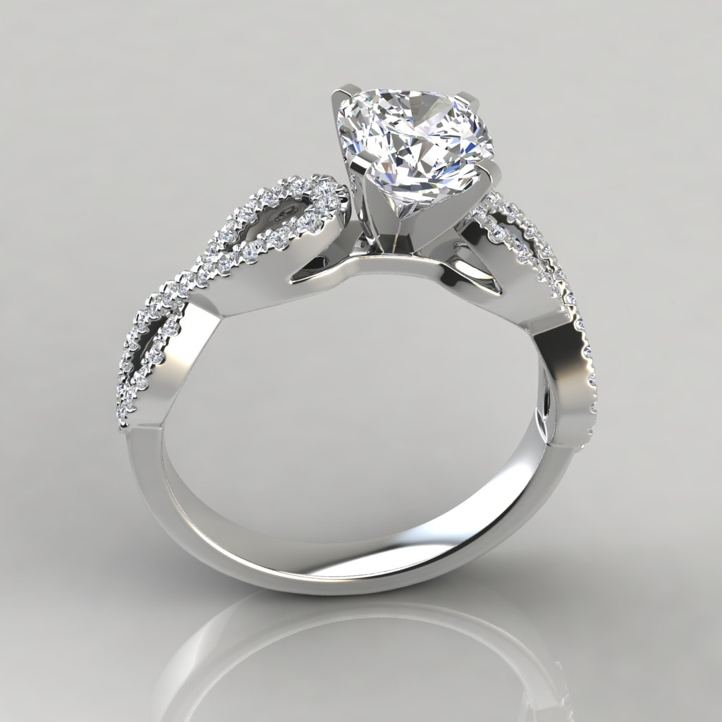 Infinity design cushion cut engagement ring puregemsjewels for Infinity design wedding ring