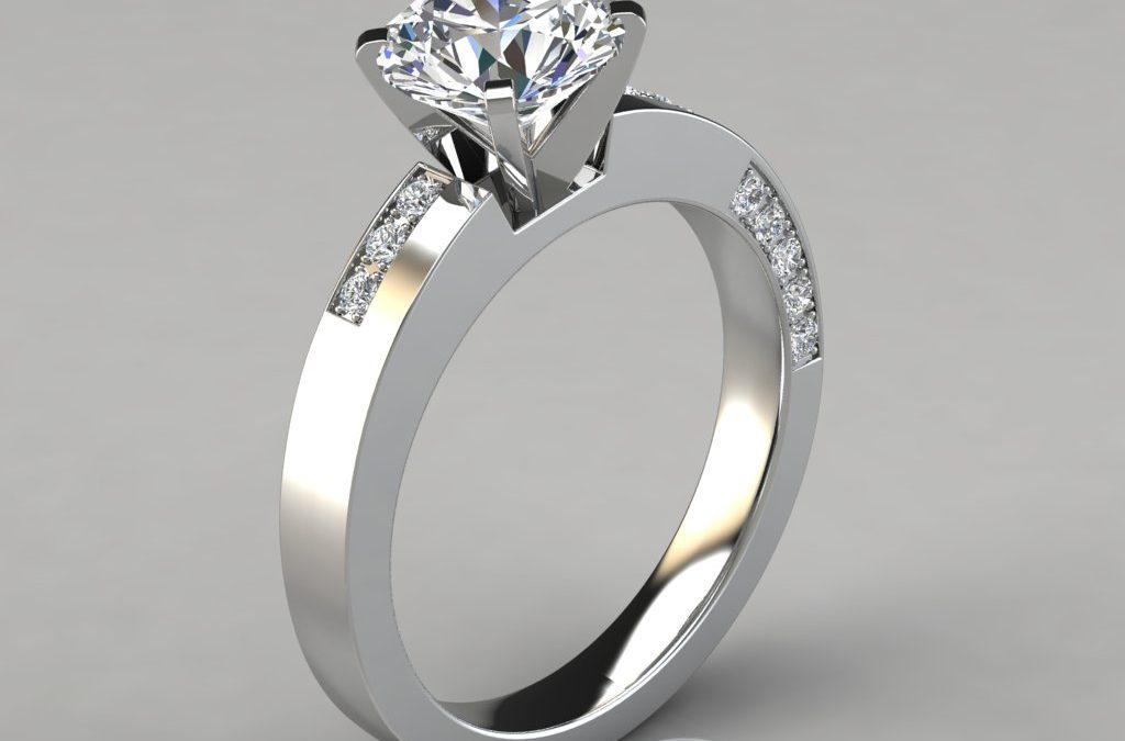 Asymmetric Pavé Round Cut Engagement Ring