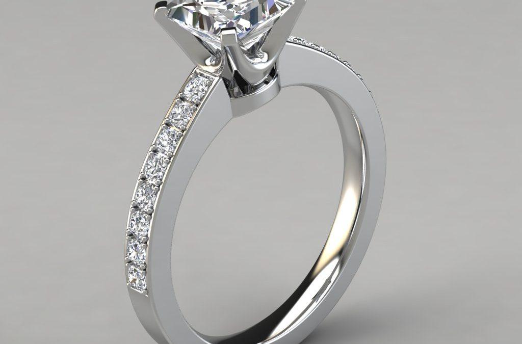 Novo Design Pavé Princess Cut Engagement Ring