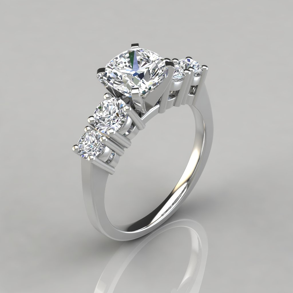 Graduated Five Stone Cushion Cut Engagement Ring Puregemsjewels
