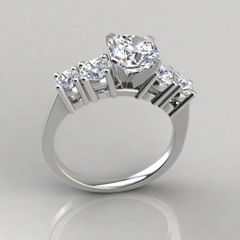 Graduated Five Stone Cushion Cut Engagement Ring ...