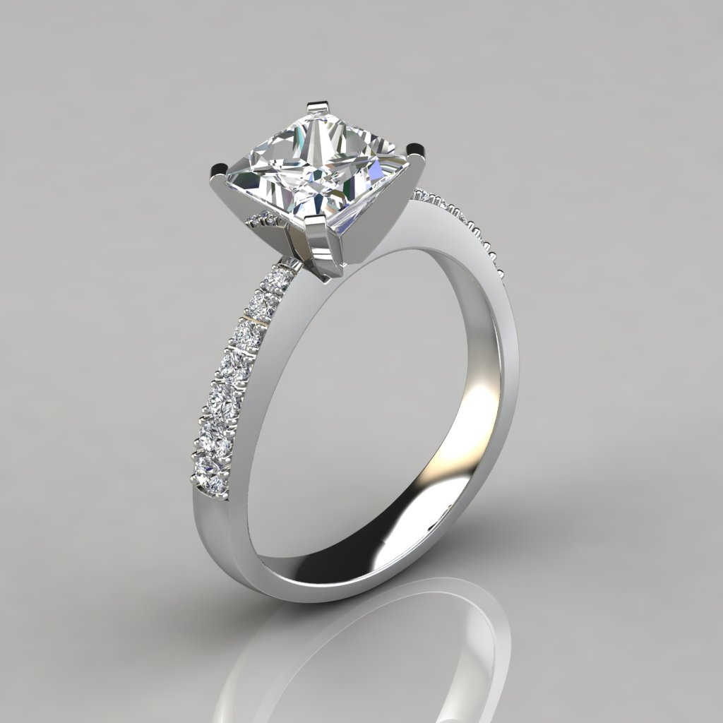 princess cut wedding rings tapered pave princess cut engagement ring puregemsjewels 6806