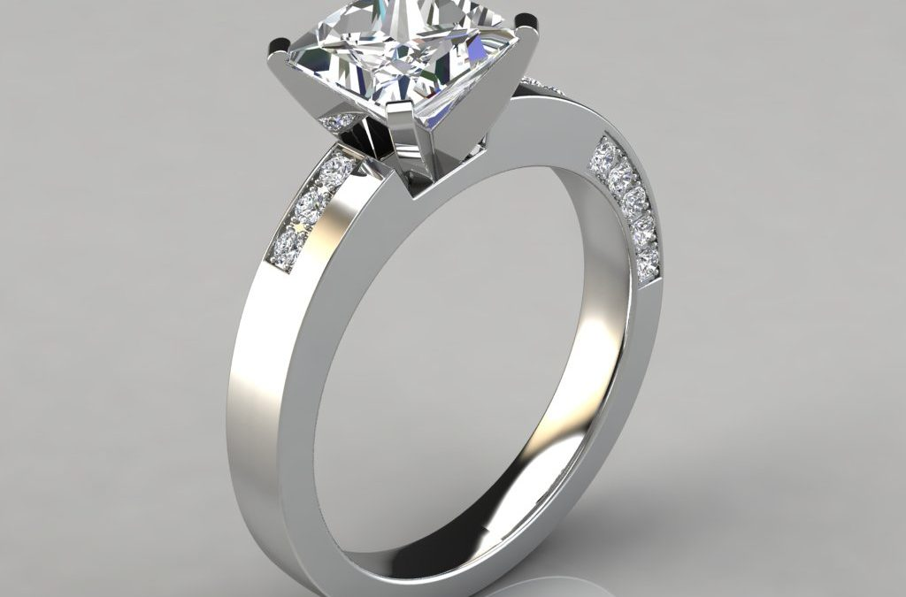 Asymmetric Pavé Princess Cut Engagement Ring