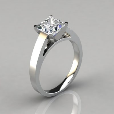 Cathedral Style Solitaire Engagement Ring is made to order in Platinum, 14K or 18K White or Yellow Solid Gold