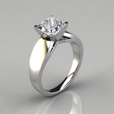 Wide Band Cathedral Style Solitaire Engagement Ring is made to order in Platinum, 14K or 18K White or Yellow Solid Gold
