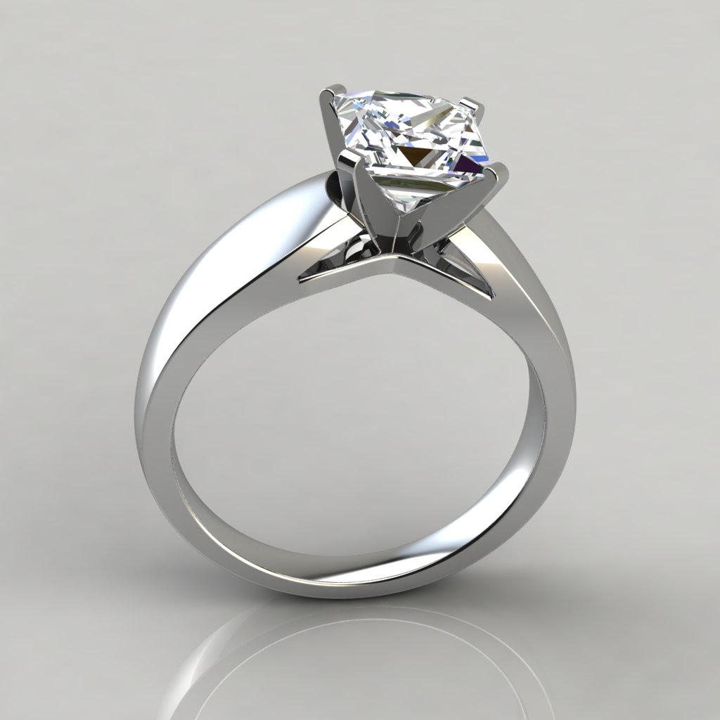 Wide Band Cathedral Style Solitaire Engagement Ring