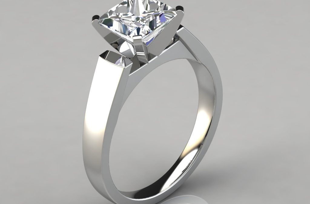 Flat Edged Cathedral Princess Cut Engagement Ring