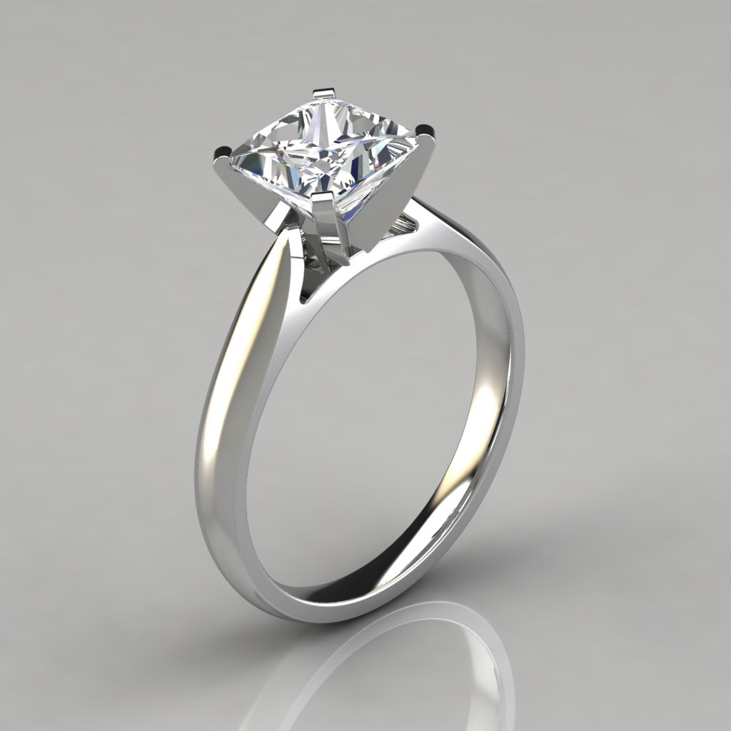 Petite Cathedral Princess Cut Solitaire Engagement Ring