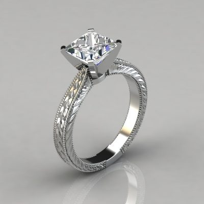white-gold-hand-engraved-princess-cut-solitaire-engagement-ring