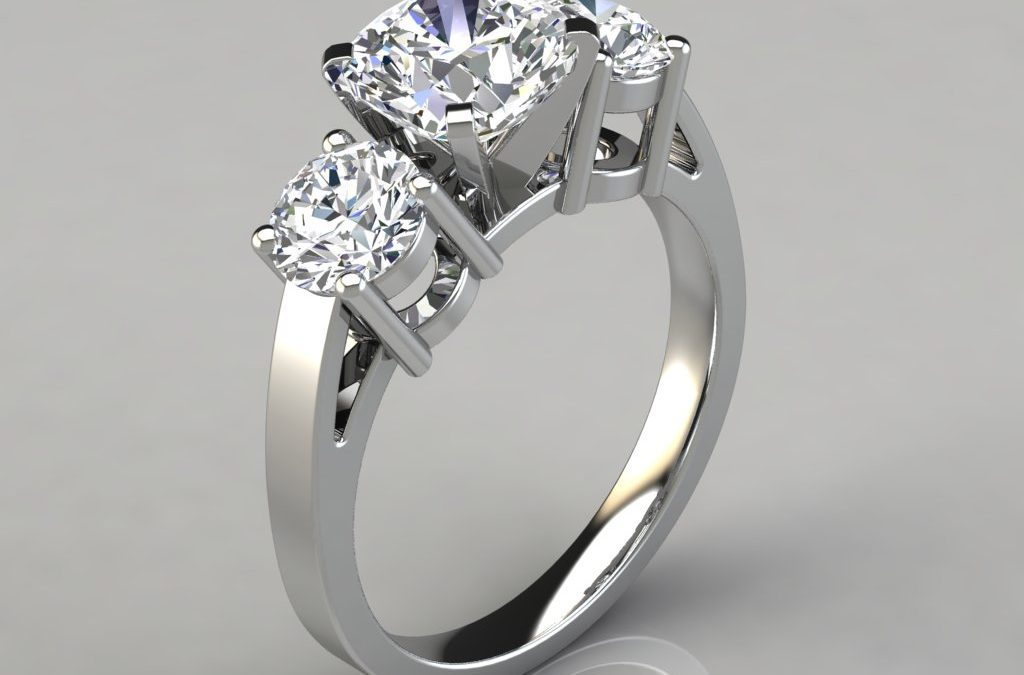 Three Stone Cushion Cut Designer Engagement Ring